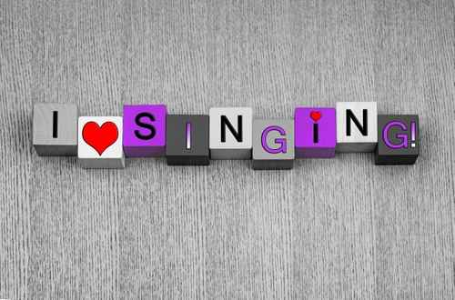 I Love Singing, sign for song, music and karaoke, pink.